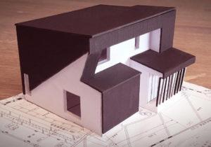 K様邸のモノクロ外観模型