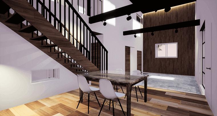 空を眺める家-完成イメージCG-エントランス