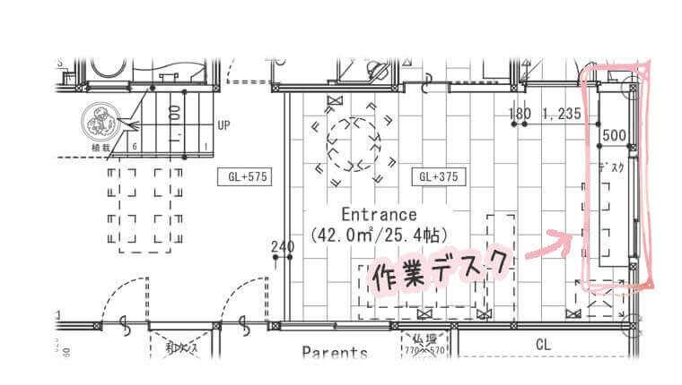 エントランス部の1階平面図でデスク場所を明示