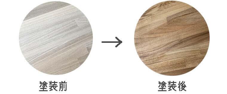 ワトコオイル、ナチュラルW-01の塗装前後比較